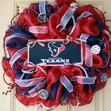 Deluxe Deco Mesh Houston TEXANS Wreath
