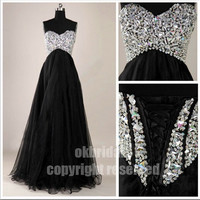black prom dress, long prom dress, evening prom dresses, chiffon prom dress, RE182