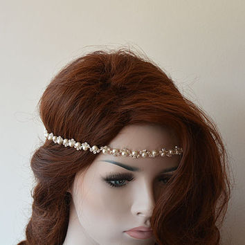 Wedding Headband, Rhinestone and Pearl Headbands,  Bridal Headpieces, Bridal Accessories, Wedding hair Accessory