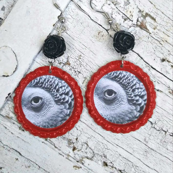 Red African Grey Earrings, PArrot EaRRings, PaRRoT JeWElry, BiRd EaRRinGs, BiRd JeWelry, Congo AfRiCaN GrEy