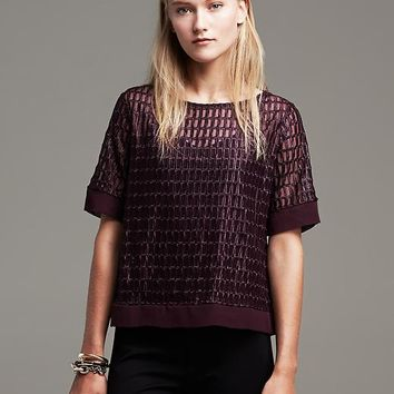 Banana Republic Lacquered Mesh Top Size XS - Secret plum