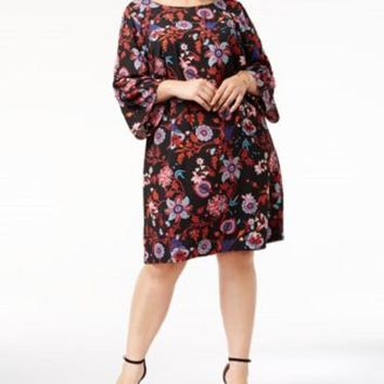 $109 New SANGRIA Women Plus Size Paisley Printed Bell-Sleeve Dress Black Multi 20W