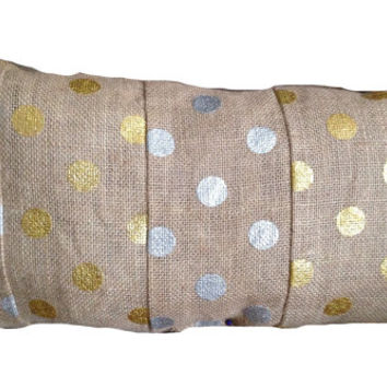 Burlap Gold and Silver Colorblock Metallic Polka Dot Pillow