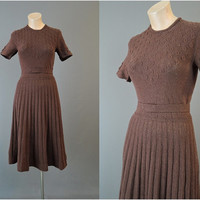 1940s Brown Sweater Knit Dress, 32 to 34 inch bust, Vintage 40s Sweater Dress