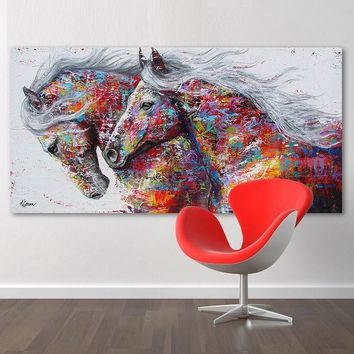 RELIABLI Animal Painting Canvas Art Wall Pictures For Living Room Two Running Horse Graffiti Art Print Posters No Frame