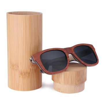 BerWer Polarized Sunglasses Women Men Layered Skateboard Wooden Frame Square Style Glasses for Ladies Eyewear with bamboo Box