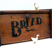 Wood Stenciled Retro Bread Box by EitherOrFinds on Etsy
