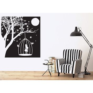 Wall Vinyl Sticker delightful night scenery woman silhouette moon light Unique Gift (n521)