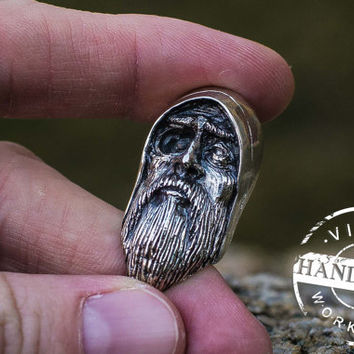 Handmade Odin Allfather Necklace Viking Amulet Sterling Silver Scandinavian Pendant