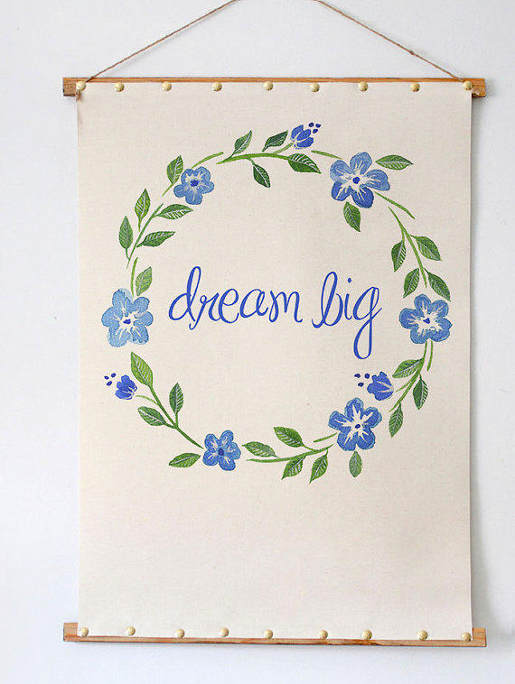 Dream Big Wall Art Watercolored Floral Wreath Beautiful Moder