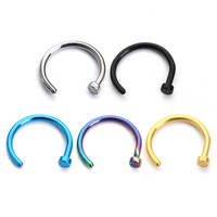 Stainless Steel Fake Nose Rings Hoop For Women Mne 5Colors Punk Style Nose Rings And Studs Body Piercing Jewelry F3778