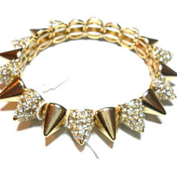 Gold plated rhinestones crystal spikes stacking bracelets adjustable elegant designer fashion inspired winter 2012
