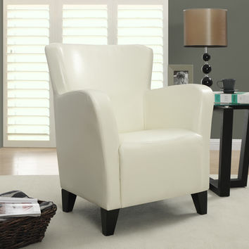 Ivory Leather-Look Club Chair