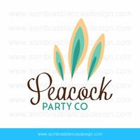 OOAK Premade Logo Design - Peacock Feathers - Perfect for an event planner or a millinery designer