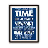 Doctor Who Timey Wimey Blue Typography Poster Print