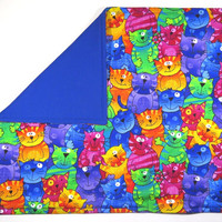 """Happy Cats Rainbow Color Catnip Mat - Refillable/Washable with Velcro opening - 17"""" x 20"""""""