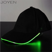 LED Baseball Cap Lighted Glow Club Party Sports Athletic Black Fabric Travel Hat Baseball Cap