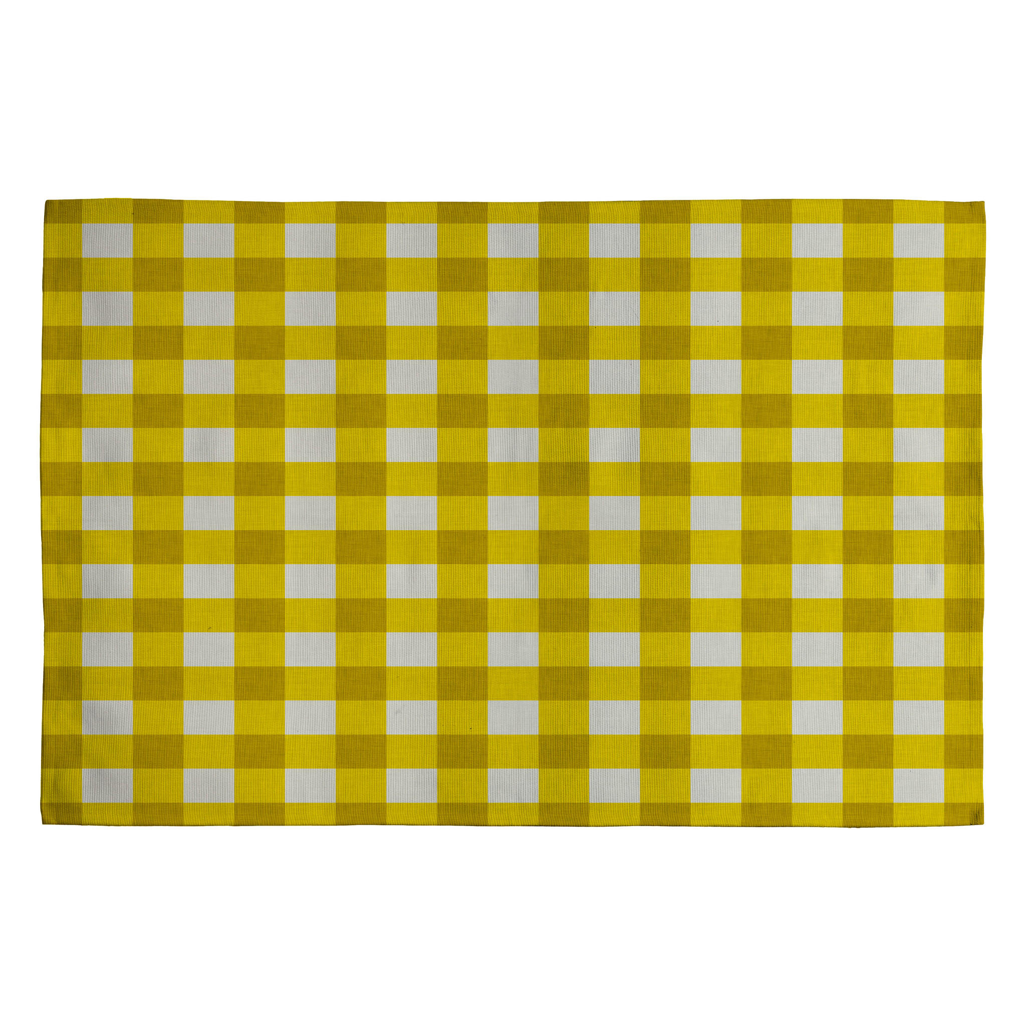Yellow Checkered Rug: Holli Zollinger Yellow Gingham Woven Rug From DENY Designs