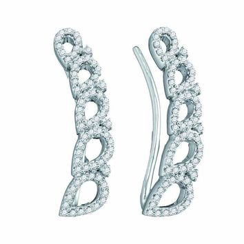 10kt White Gold Women's Round Diamond Curved Teardrop Climber Earrings 1-3 Cttw - FREE Shipping (US/CAN)