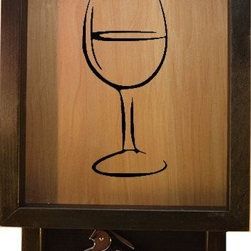 "Wooden Shadow Box Wine Cork Holder with Corkscrew 9""x15"" - Wine Glass"