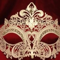 White Venetian Laser Cut Metal Mask w/ Crystal Clear Rhinestones