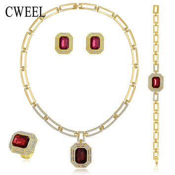 CWEEL Jewelry Sets For Women Summer Style African Beads Wedding Accessories Bridal Imitated Crystal Costume Necklace Earrings