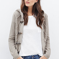 LOVE 21 Multi-Knit Hooded Toggle Cardigan