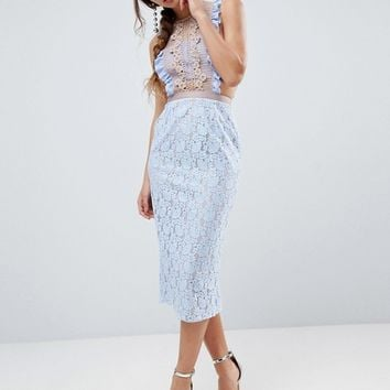 ASOS Lace Pencil Midi Dress with Frill Pinny Bodice at asos.com
