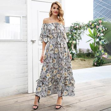 Print Off Shoulder Long High Waist Ruffle Elegant Summer Dress
