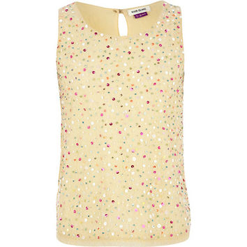 River Island Girls gold sequin mesh tank top