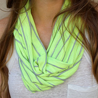Striped Cowl Scarf, Neon Yellow Loop Scarf, Neon Accessory, Cowl Scarf, Eternity Scarf