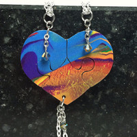 Heart Shaped Puzzle Necklaces Set of 3 Interlocking Necklaces Rainbow Polymer Clay with Crystals