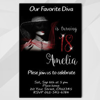 18th Birthday invitation, Diva Chalkboard Birthday Invitation, 13th 18th 21st 30th 40th, etsy Custom Birthday invitation A006-2