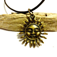 Celestial Leather Choker, Unisex Choker, Brass Sun Charm Choker Necklace, Chose Length, Cool Celestial Jewelry, Grab Gift for Men or Women
