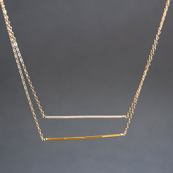 Ho'ola'i necklace - two toned minimal double layered bar necklace, sterling silver and 14kt gold filled necklace, Karen Hill, maui, hawaii