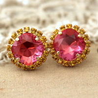 Pink Yellow Swarovski studs, Rhinestone earrings, gift for woman - 14 K 2 micron Thick plated gold post earrings real swarovski rhinestones.