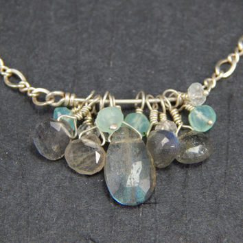 Pendant necklace, labradorite, chalcedony, wire wrapped, sterling silver