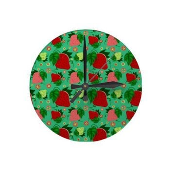 Red Green Pink Strawberries Clocks from Zazzle.com