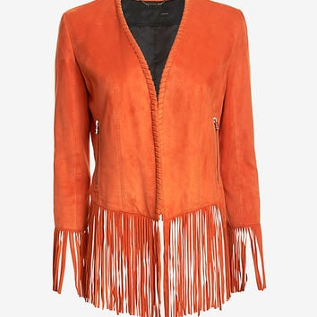Barbara Bui Suede Fringe Jacket: Orange at INTERMIX | Shop Now | Shop IntermixOnline.com