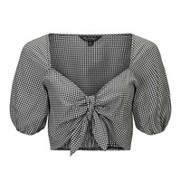Gingham Tie Front Cropped Top - Clothing - New In