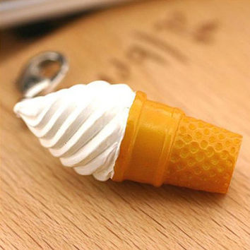 Vanilla Soft Serve Ice Cream Cone Sweet Miniature Food Cell Phone Mobile Charm Accessory Jewellery Necklace Realistic Pendant 7-ICPM-001