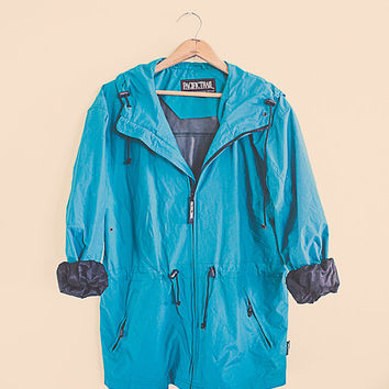 90's Windbreaker Teal Turquoise Raincoat Jacket Coat Hood  M Medium  Seattle Style Active wear Sports Wear Parachute 80s  Ski Coat