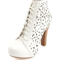 LASER-CUT LACE-UP PLATFORM BOOTIE