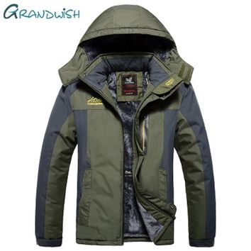 Grandwish New Winter Fleece Military Jackets Men Windproof Waterproof Outwear Parka  Jacket Mens Plus Size 9XL Overcoat, ZA037