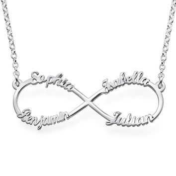 Personalized Infinity Necklace Gift for Mom with Four Names