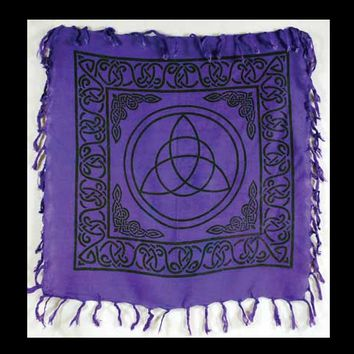 "Royal Purple Triquetra Altar/Table Cloth 18"" x 18"""