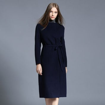 Autumn winter  womans outwear Navy blue wool coat sashes two pockets with Double Lapels wool coat-Minimalist coat,86533