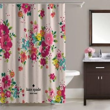 "Beautiful Kate Spade New York Pink Rose Floral Shower Curtain 60""x72"" Print On"