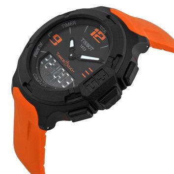 Tissot T-Race Touch Black Dial Orange Rubber Mens Watch T0814209705702