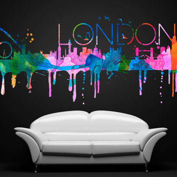 London City Skyline Watercolor Sticker - Home Design - Art Print - Wall Decals - Also available as Poster